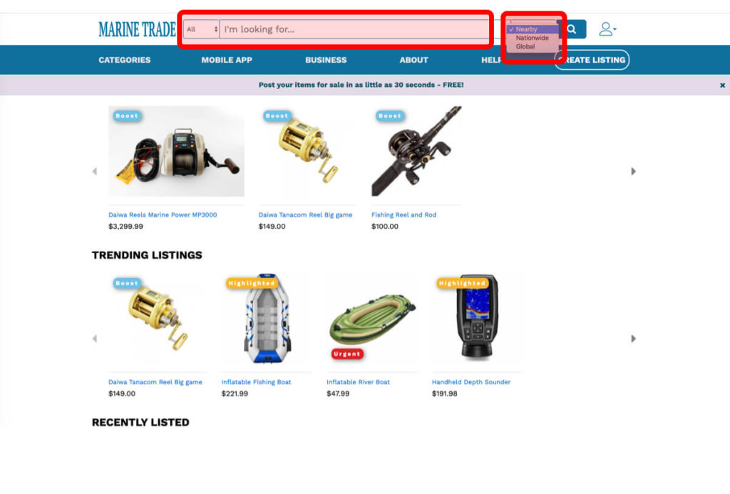 Marine Trade Buying Search and Filter